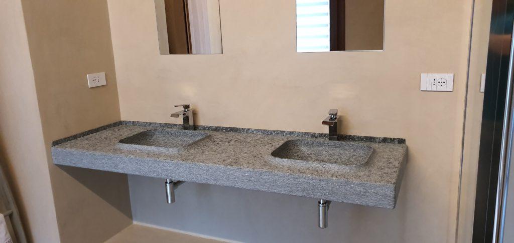 Top bagno sospeso con vasche scavate